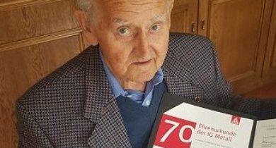 Werner Schelkes 70 Jahre Mitglied