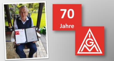 Hermann Kemper aus Vreden 70 Jahre Mitglied der IG Metall