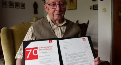 Herbert Klein aus Bocholt 70 Jahre Mitglied der IG Metall