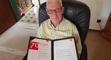 Mathias Jansen aus Emmerich 70 Jahre Mitglied der IG Metall
