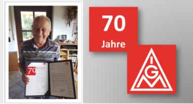 Gerhard Winkler aus Stadtlohn feiert 70-jährige Mitgliedschaft