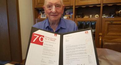 Heinz Abbing aus Vreden ist 70 Jahre Mitglied in der IG Metall