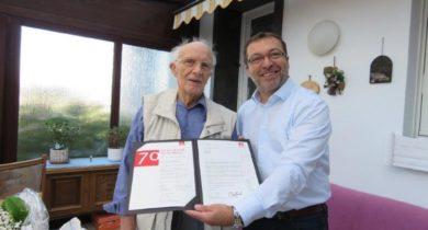 Helmut Mager aus Isselburg 70 Jahre Mitglied in der IG Metall Bocholt