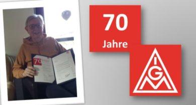 Helmut Knapheide aus Gronau 70 Jahre in der IG Metall
