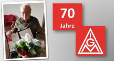 Heinz Kamps aus Bocholt 70 Jahre Mitglied in der IG Metall