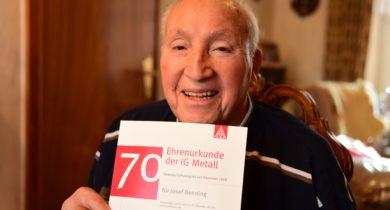 Josef Benning 70 Jahre Mitglied in der IG Metall