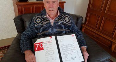 Jubilar Manfred Voigt 70 Jahre Mitglied in der IG Metall