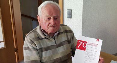 Johannes Doerwald, 70 Jahre Mitglied in der IG Metall