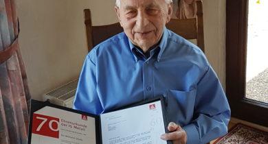 Wihelm Stade 70 Jahre Mitglied in der IG Metall