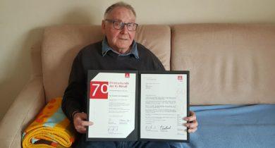 Ewald Vennemann aus Vreden feiert 70jährige IG Metall-Mitgliedschaft